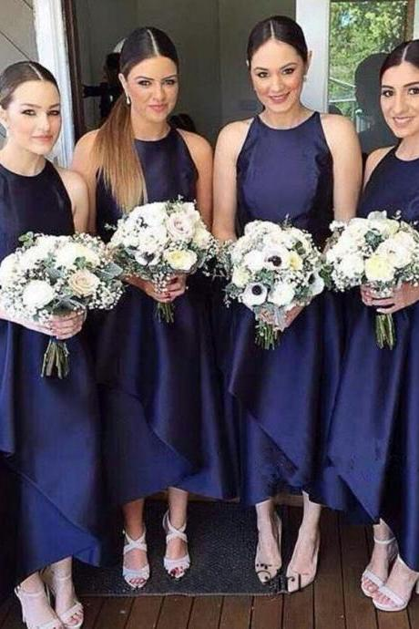 Simple Tea-Length Bridesmaid Dress Navy Blue Bridesmaid Dress Casual Bridesmaid Dresses Elegant Bridesmaid Dresses