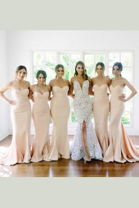 bridesmaid dresses,plus size bridesmaid dresses,Champagne Bridesmaid Dress, Mermaid Bridesmaid Dress
