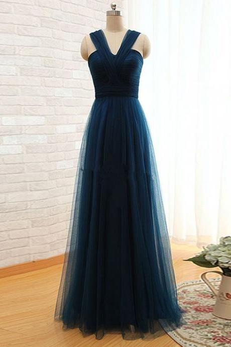 Simple A Line Straps Pleated Long Women Dark Green Tulle Prom/Bridesmaid Dresses