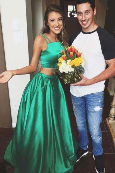 Simple Two Piece Spaghetti Straps A Line Long Dark Green Satin Prom Dresses/Evening Dresses