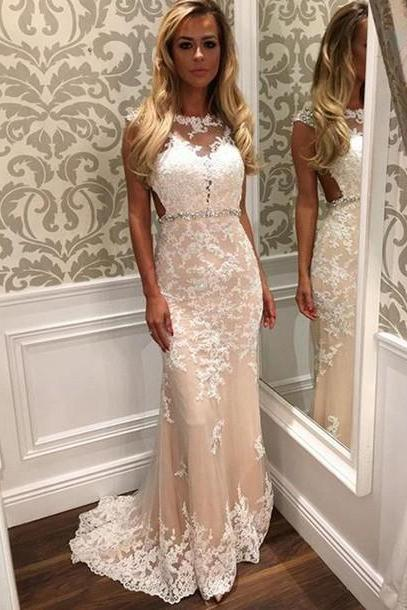Glamorous Mermaid Cap Sleeves Women Champagne Prom/Evening Dresses With Beaded Lace