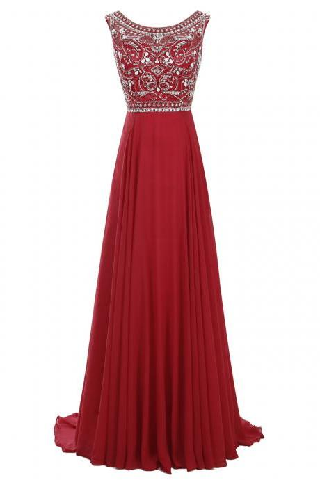 Beautiful A Line Scoop Long Women Red Chiffon Prom Dresses With Beading