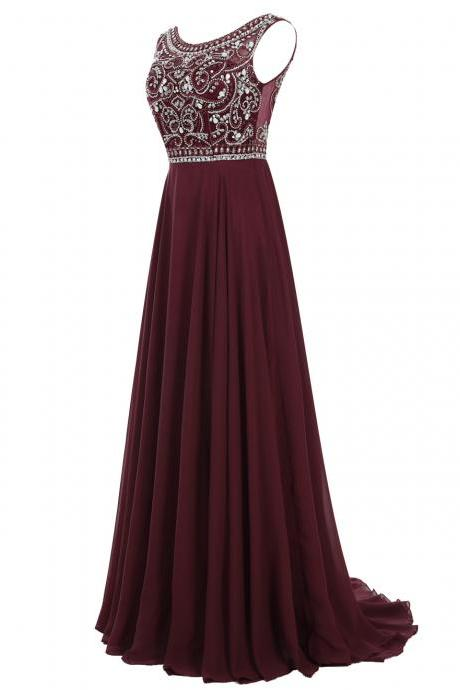 Vintage A Line Scoop Long Burgundy Chiffon Prom Dresses With Beading
