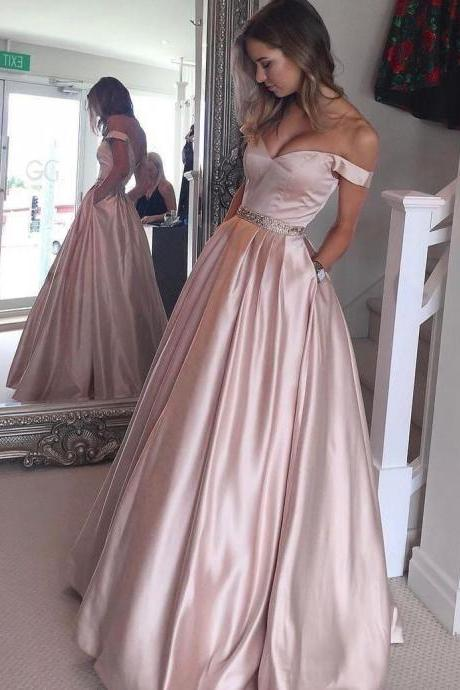 Charming Off the Shoulder Long Pearl Pink Satin Prom/Evening Dress with Beading Pockets