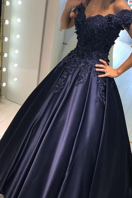Elegant A-line Off-the-Shoulder Long Navy Blue Satin Evening/Formal Dress with Beaded Lace Appliques