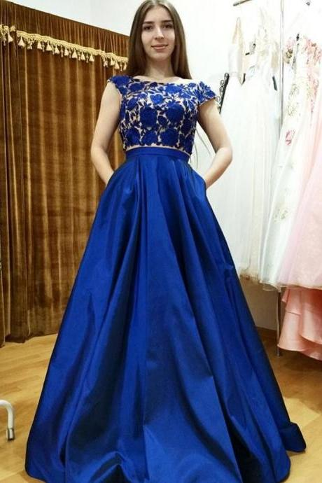 Modern Two Piece Bateau Cap Sleeves Long Royal Blue Satin Lace Prom Dress with Pockets