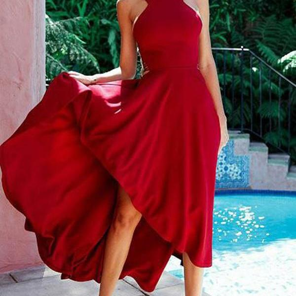 Sexy High Low Scoop Backless Sleeveless Bandage Long Red Satin Prom/Evening Dresses 2018