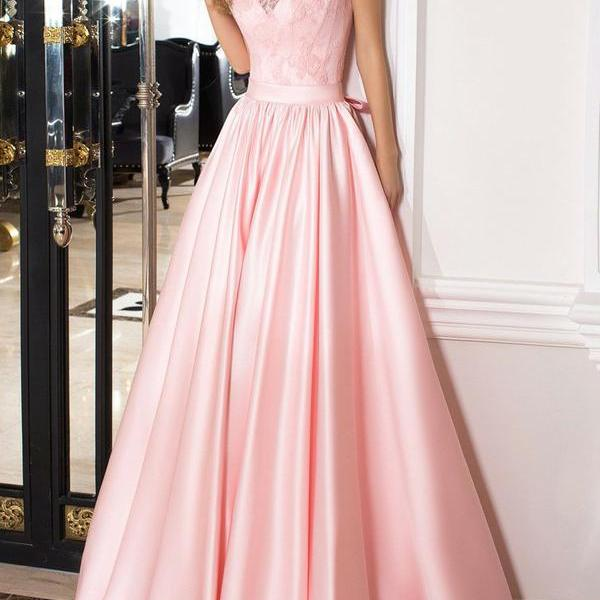 Elegant A Line Scoop Cap Sleeves Lace Up Long Pink Satin Prom/Formal Dresses with Lace/Bow