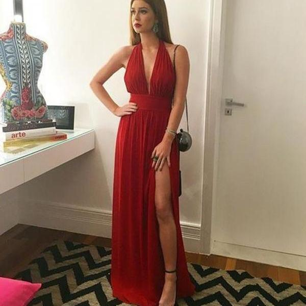 Stunning A Line Halter Pleated Long Red Chiffon Prom/Evening Dress With Slit