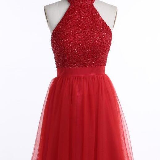 Cute Cute Halter Backless Short Red Beaded Homecoming Dress