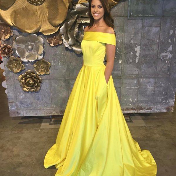 Charming A Line Off Shoulder Yellow Satin Prom/Evening Dress