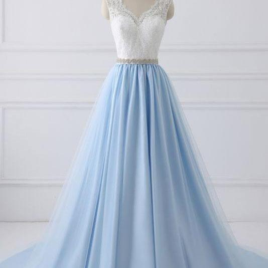 Simple A Line V Neck White Lace Blue Tulle Satin Prom/Evening/Formal Dress