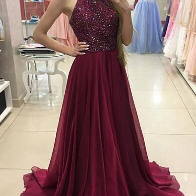 Fashion A Line Scoop Beaded Long Burgundy Satin Prom/Evening Dress