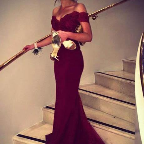 Simple Mermaid Long Burgundy Satin Lace Prom/Bridesmaid Dress with Sweep Train