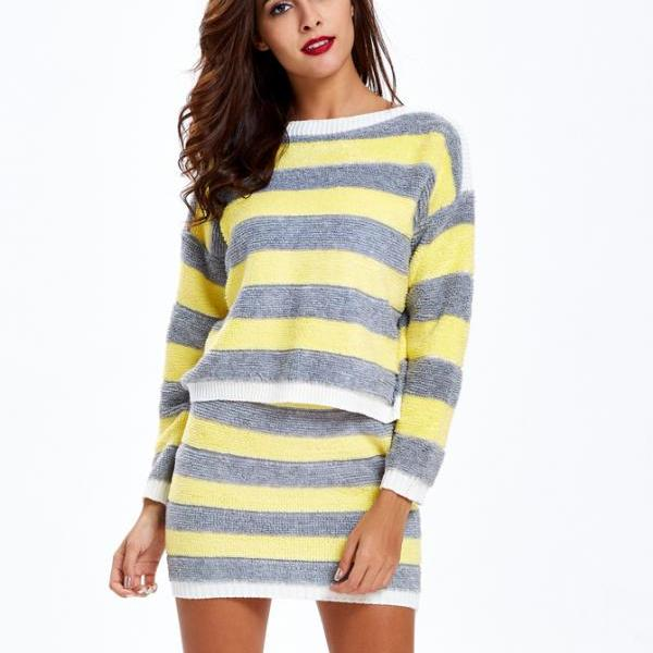 Striped Two Piece Sweater Dress Grey Sweater Dress Pullovers Sweater Dress