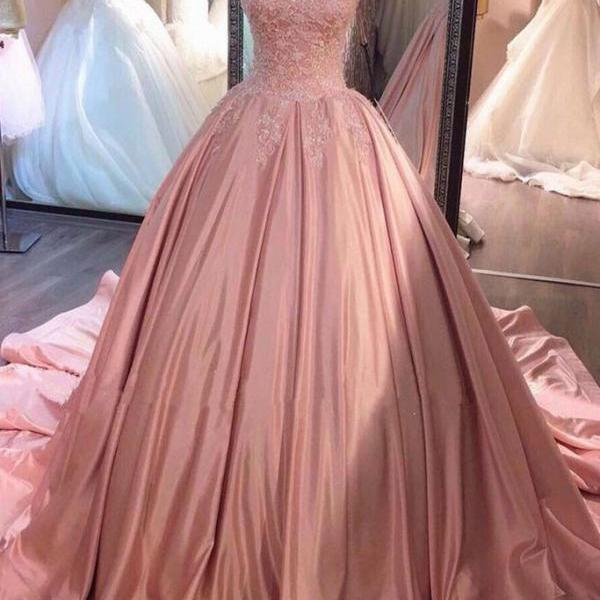 Charming Ball Gown Sweetheart Sweep Train Pearl Pink Lace Pro Dress with Beading Waist