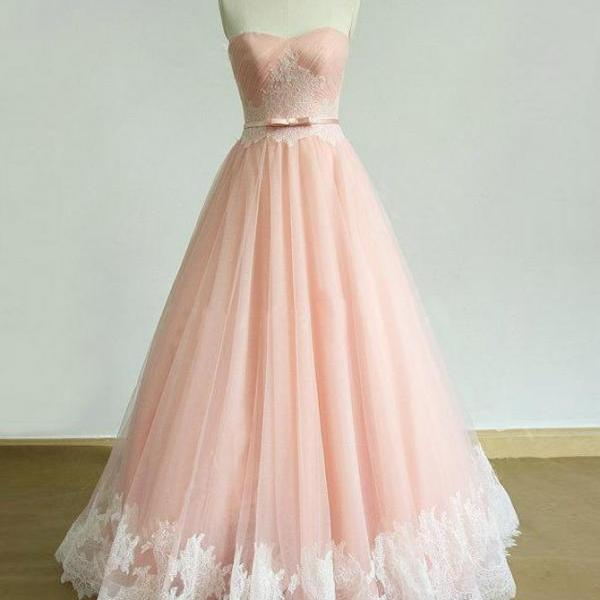 Elegant A Line Strapless Pleated Pink Tulle Lace Prom Dress