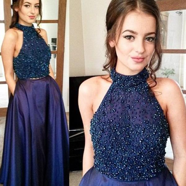 Stunning Two Piece Halter Dark Navy Blue Prom Dress with Beading