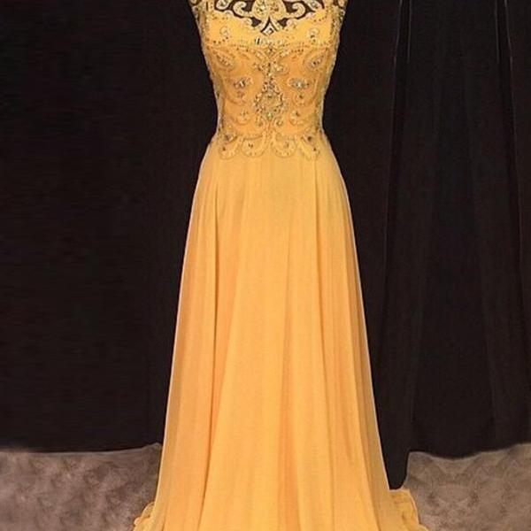 Chic A Line Beaded Long Orange Chiffon Prom Dress