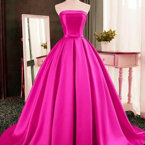 Chic Strapless A Line Fuchsia/Red Satin Formal Evening Dresses