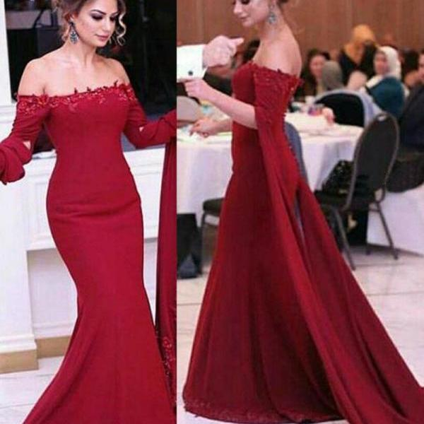 Beautiful Mermaid Off Shoulder Long Sleeves Burgundy Evening Dress with Sequined Lace