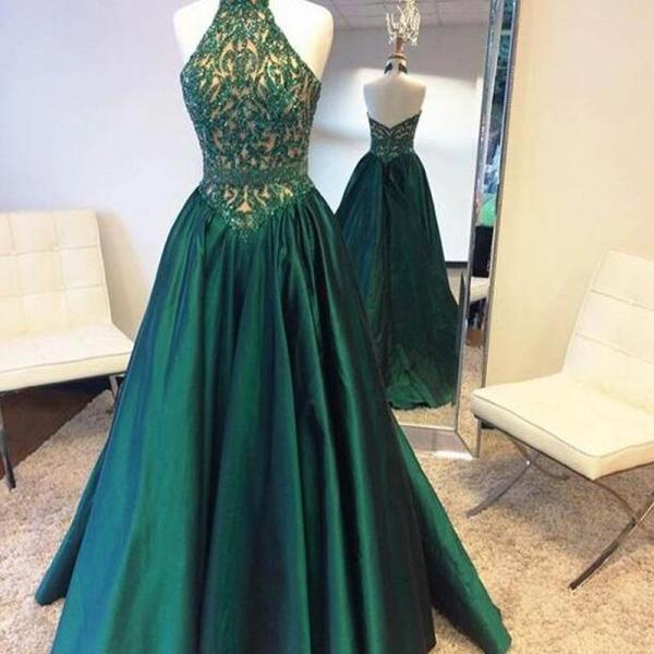 Cheap A Line Halter Beaded Lace Long Dark Green Prom/Evening Dresses
