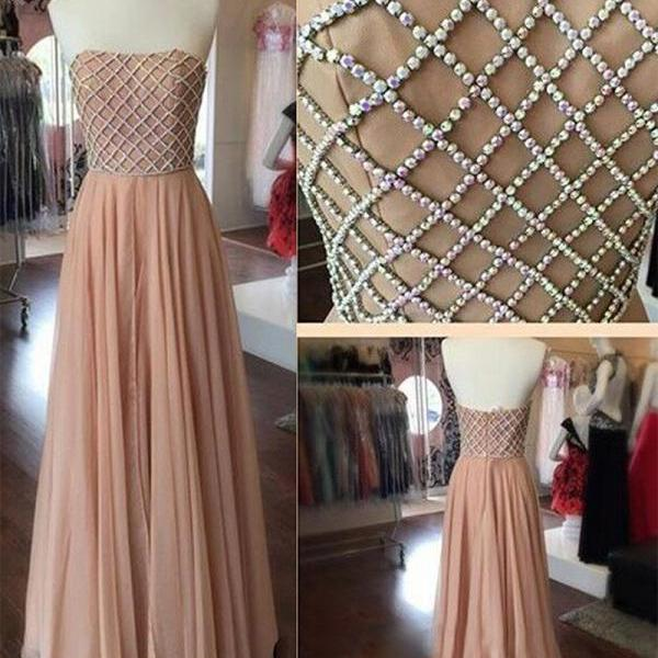 Vintage A Line Strapless Women Beaded Dirty Pink Chiffon Evening/Prom Dresses