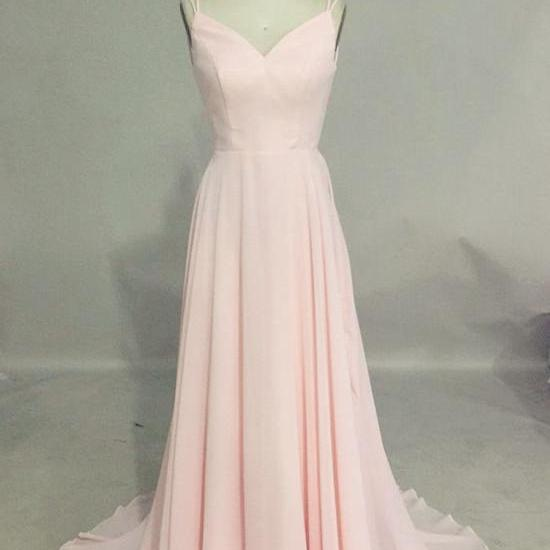 Simple A Line Spaghetti Straps Backless Long Women Blush Pink Prom/Evening Dress
