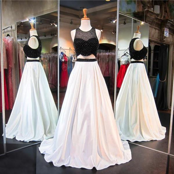 Sparkly Two Piece A line Jewel White Black Satin Prom/Evening Dresses With Beading