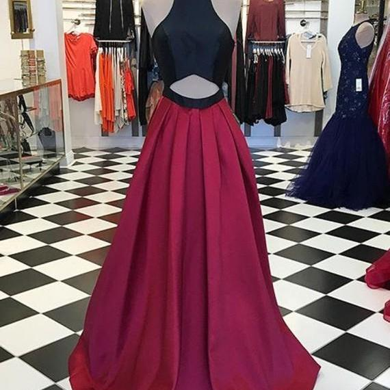 Stylish A Line High Neck Burgundy Black Satin Evening/Prom Dresses with Keyhole
