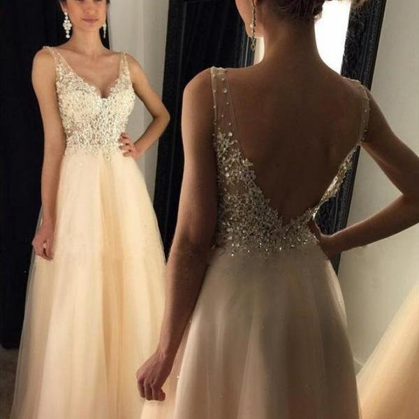 Elegant A Line V Neck Backless Beaded Champagne Prom/Evening Dress with Lace Appliques