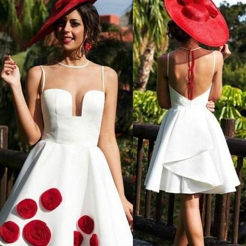 Sexy Illusion Back Short White Homecoming Dress with Ruffles Patchwork