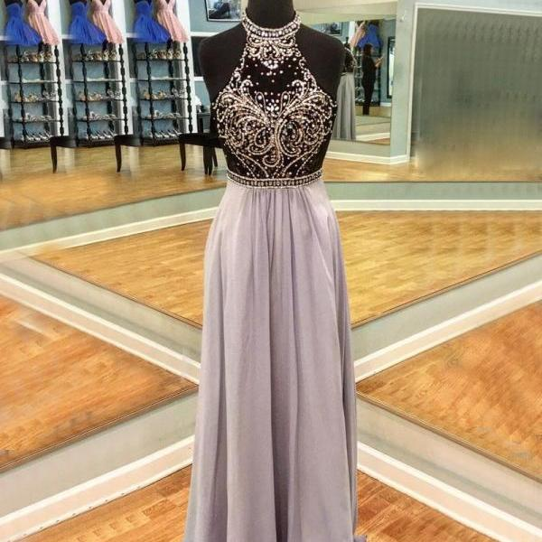 Chic A Line Halter Open Back Long Chiffon Prom/Evening Dress with Beading