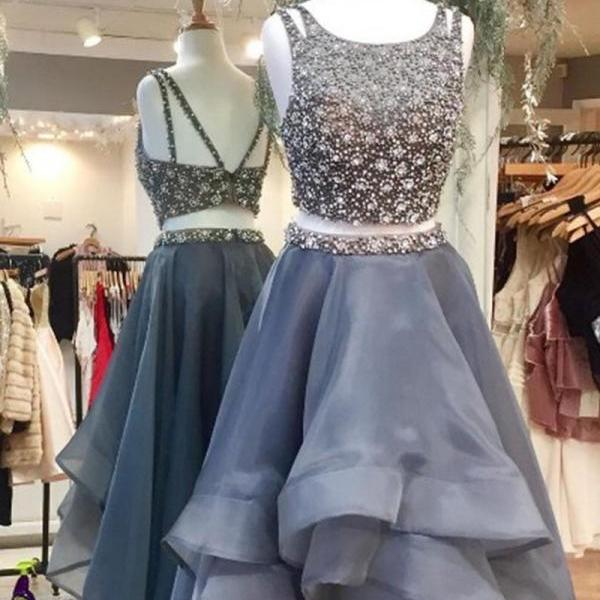 Gorgeous Two Piece High Low Scoop Tiered Long Gray Tulle Prom Dresses with Beading