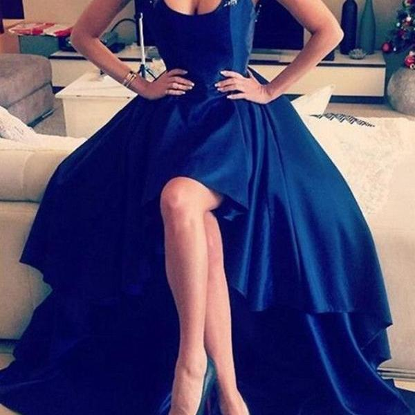 Beautiful High Low Straps Backless Long Royal Blue Satin Prom Dresses with Beaded Appliques